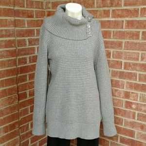Calvin Klein Gray Waffle Knit Cowl Neck Sweater